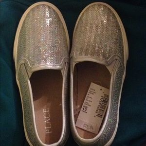 Silver sequined youth loafers